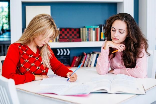 Novias estudiando juntos en la mesa