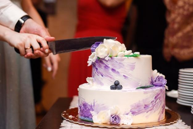 Novios cortando el pastel de bodas