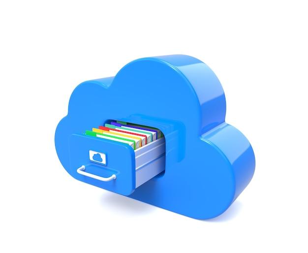 Nube azul para archivos aislados en blanco