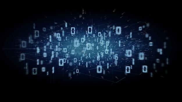 Nube binaria de datos en una representación 3d de fondo