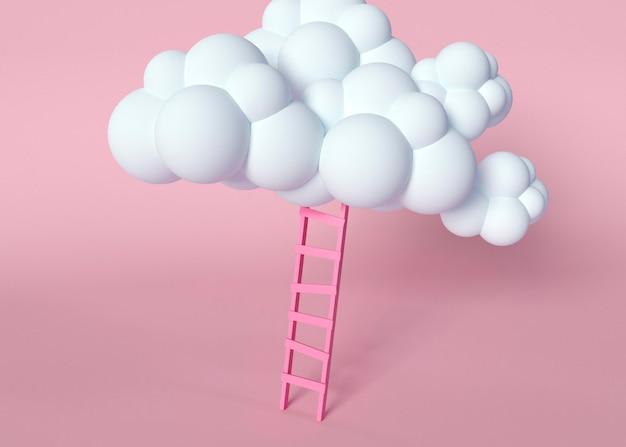 Nube blanca y escalera rosa