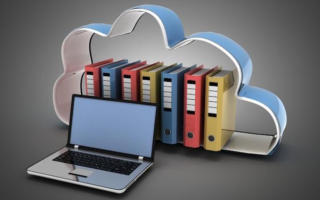 Nube y carpetas del ordenador portátil 3d. ilustración 3d