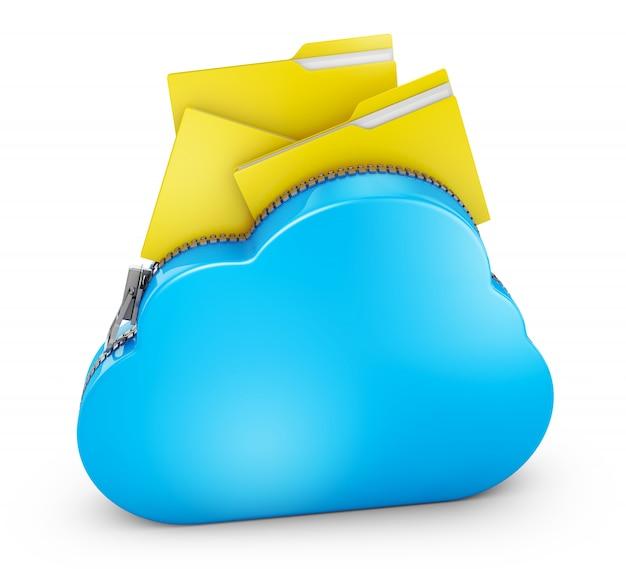 Nube con cremallera y carpetas con archivos. representación 3d.