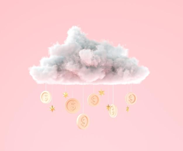 Nube de ilustración 3d con monedas colgando para negocios y concepto de ahorro de dinero