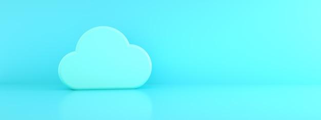 Nube sobre fondo azul, información de almacenamiento en la nube, render 3d, imagen panorámica