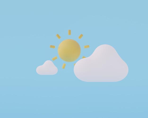 Nubes de dibujos animados con renderizado 3d de sol