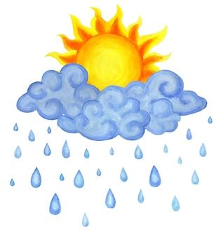 Nubes de sol y gotas de lluvia ilustración del tiempo para niños aislado sobre fondo blanco handdrawn