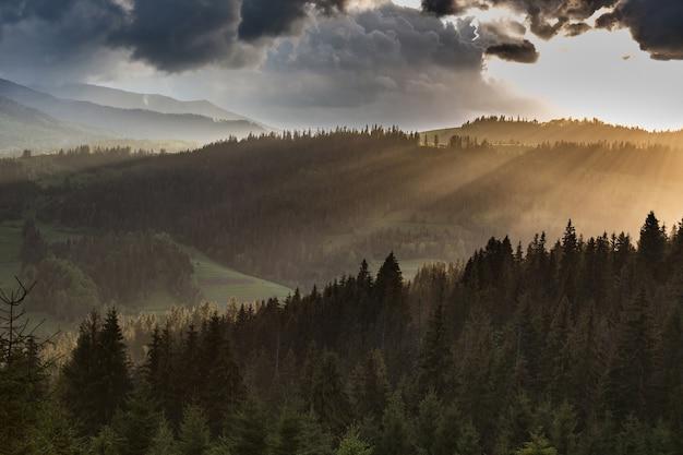 Nubes de tormenta sobre las montañas y el bosque durante la puesta de sol