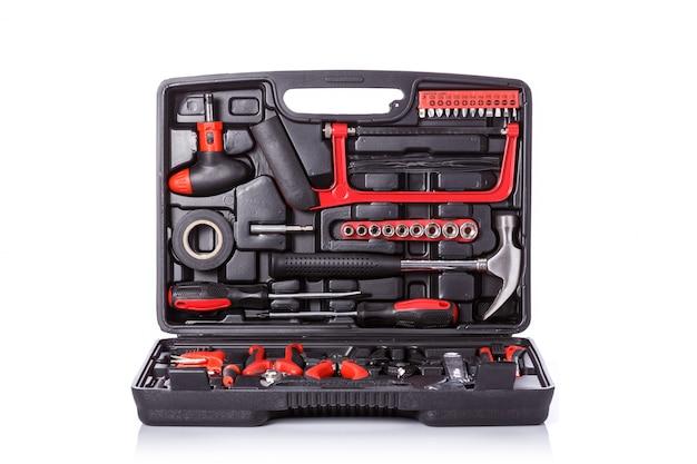 Nueva caja de herramientas cuadrada negra.