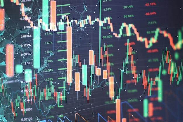 Nueva estrategia informática y empresarial moderna como concepto. diagrama financiero con gráfico de velas utilizado en el análisis de mercado para el informe de variación del precio de las acciones