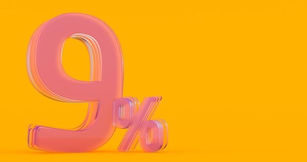 Nueve (9) por ciento en vidrio, número de vidrio 3d sobre fondo de banner de color, render 3d