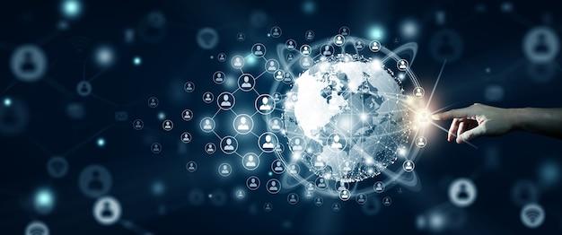 Nuevo concepto de conexión empresarial global empresario liderando la conexión global