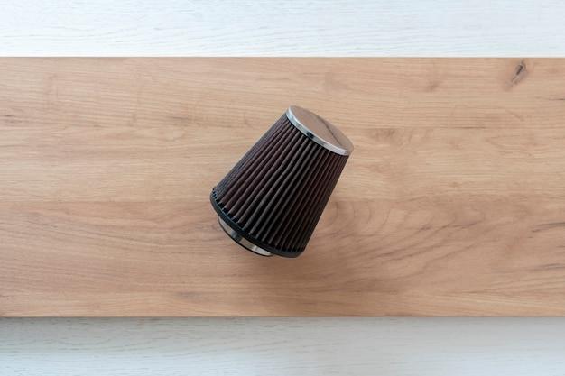 Nuevo filtro de resistencia cero del coche de aire de admisión del cilindro negro aislado