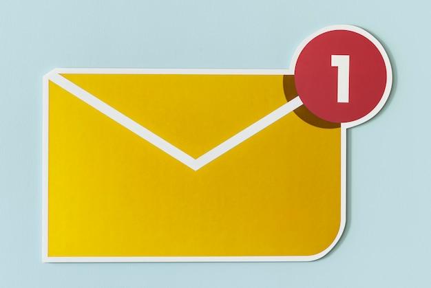 Nuevo icono de correo electrónico de mensaje entrante