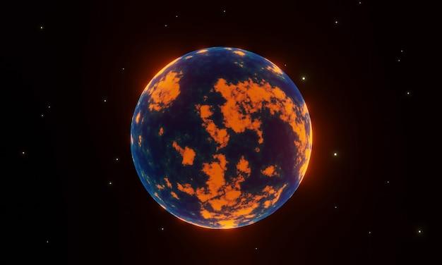 Nuevo mundo renderizado en 3d. planeta alienigena.