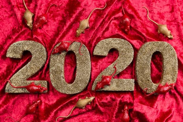 Nuevo número del año chino en terciopelo rojo