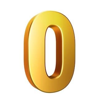 Número 0, alfabeto. número 3d de oro aislado en un fondo blanco con trazado de recorte. ilustración 3d.