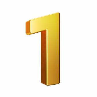 Número 1, alfabeto. número 3d de oro aislado en un fondo blanco con trazado de recorte. ilustración 3d.
