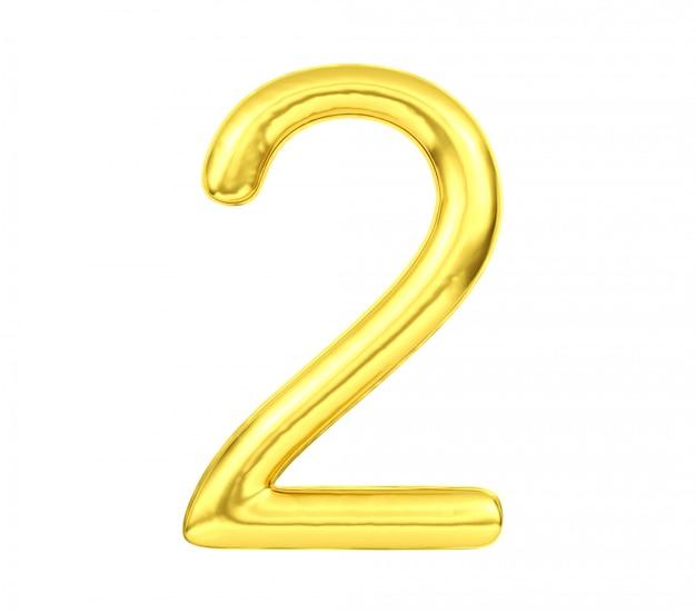 Número 2, globo dorado número dos aislado sobre fondo blanco, representación 3d