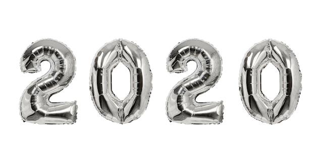 Número 2020 de globos plateados