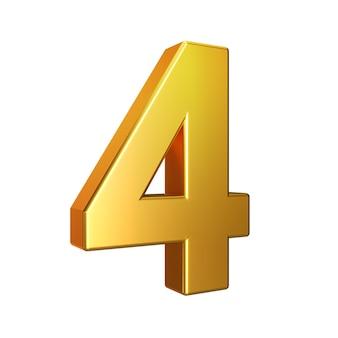 Número 4, alfabeto. número 3d de oro aislado en un fondo blanco con trazado de recorte. ilustración 3d.