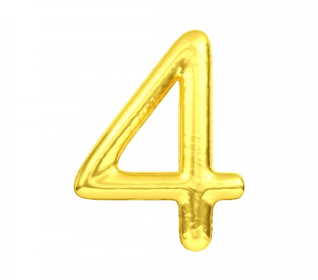 Número 4, globo dorado número cuatro aislado sobre fondo blanco, representación 3d