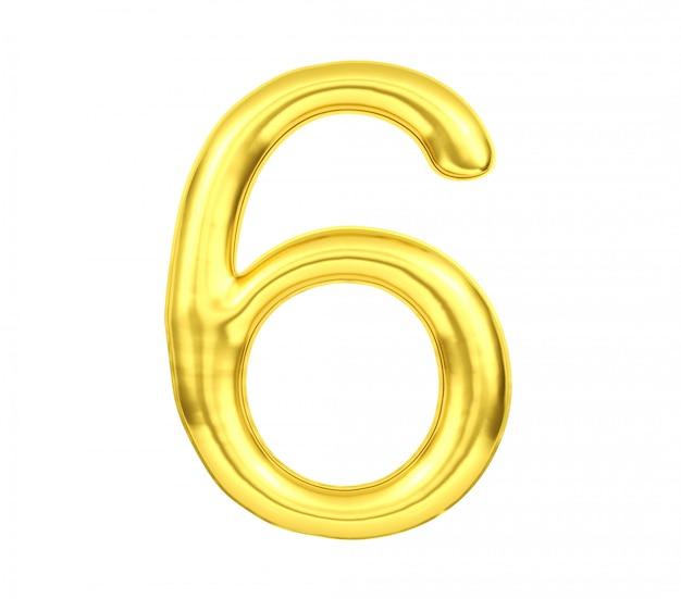 Número 6, globo dorado número seis aislado sobre fondo blanco, representación 3d
