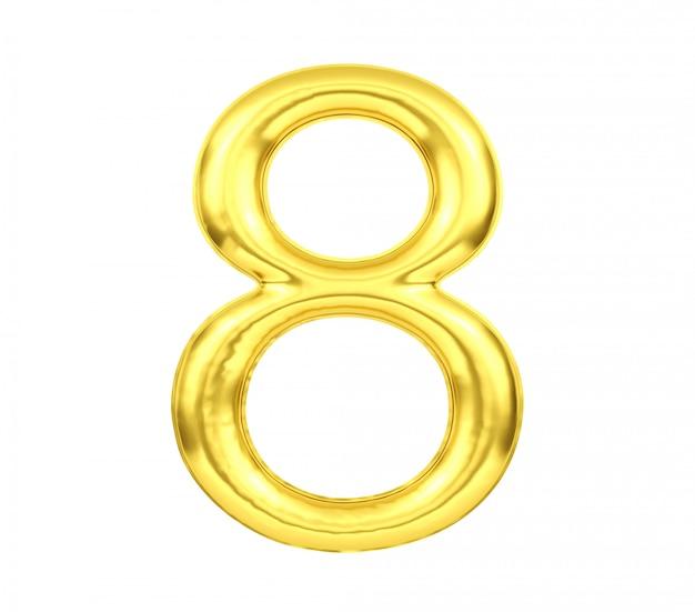 Número 8, globo dorado número ocho aislado sobre fondo blanco, representación 3d