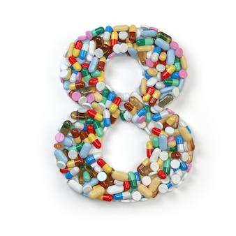 Número 8 ocho de la medicina píldoras cápsulas tabletas y ampollas aislado en blanco