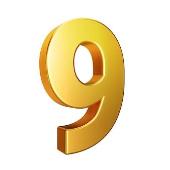 Número 9, alfabeto. número 3d de oro aislado en un fondo blanco con trazado de recorte. ilustración 3d.