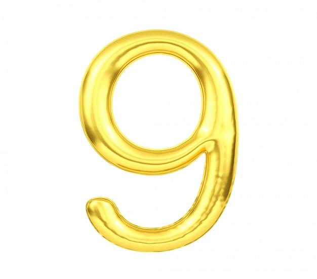 Número 9, globo dorado número nueve aislado sobre fondo blanco, representación 3d