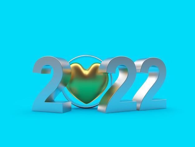 Número de año nuevo con un corazón de oro en un anillo de bodas.