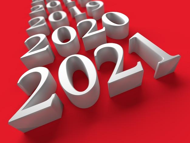 Número blanco de año nuevo cerca de años viejos sobre fondo rojo.