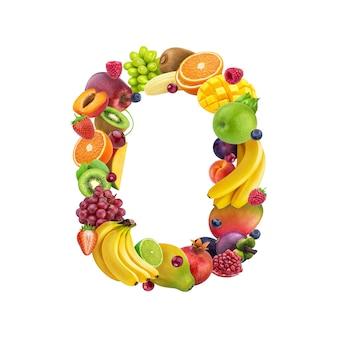 Número cero hecho de diferentes frutas y bayas.