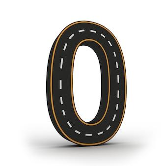 Número cero símbolos de las figuras en forma de carretera.