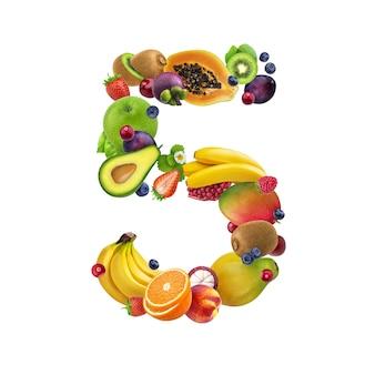 Número cinco de diferentes frutas y bayas.