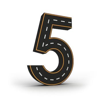 Número cinco símbolos de las figuras en forma de camino.
