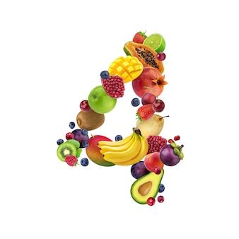 Número cuatro de diferentes frutas y bayas.