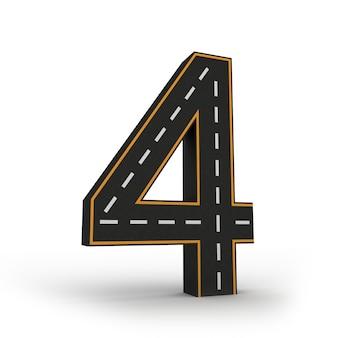 Número cuatro símbolos de las figuras en forma de camino.