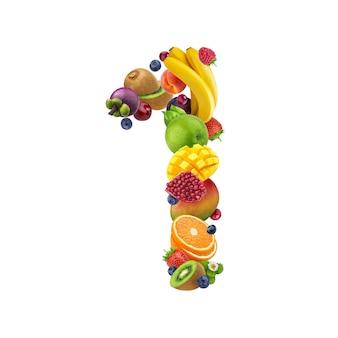 Número uno de diferentes frutas y bayas.