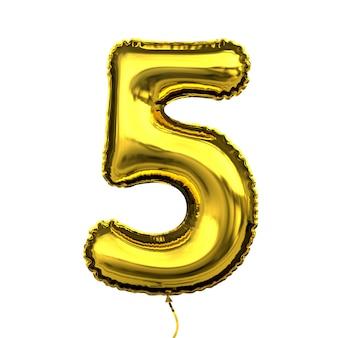 Número de dígito numérico de globo de letra dorada metálica