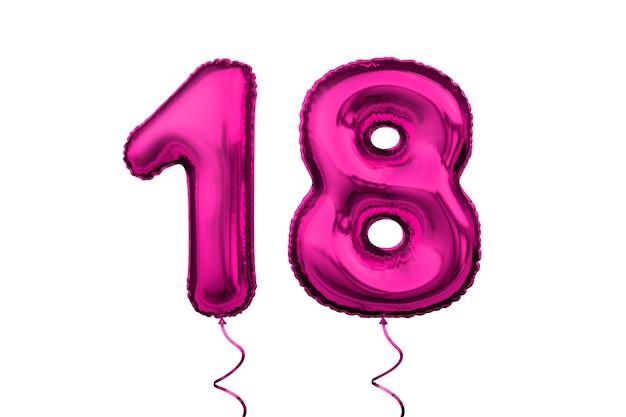 Número de dígito numérico de globo de letra rosa metálico cumpleaños 18