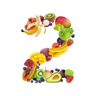 Número dos de diferentes frutas y bayas.