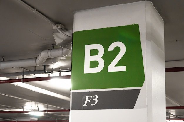Número de estacionamiento subterráneo, estacionamiento número b2 signo f3