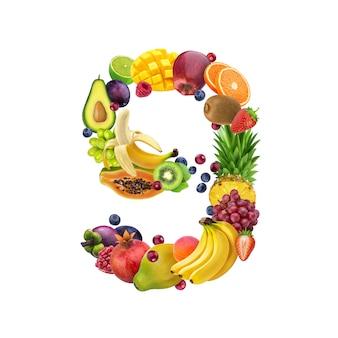 Número nueve de diferentes frutas y bayas.