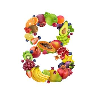 Número ocho de diferentes frutas y bayas.