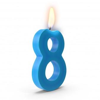 Número ocho vela de la torta