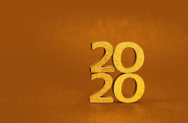 Número de oro del año nuevo 2020, imagen festiva brillante de navidad y año nuevo