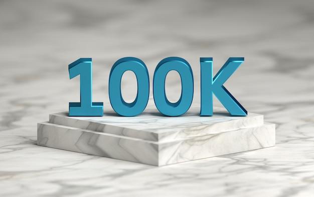 El número de redes sociales 100k le gusta seguidores en el podio