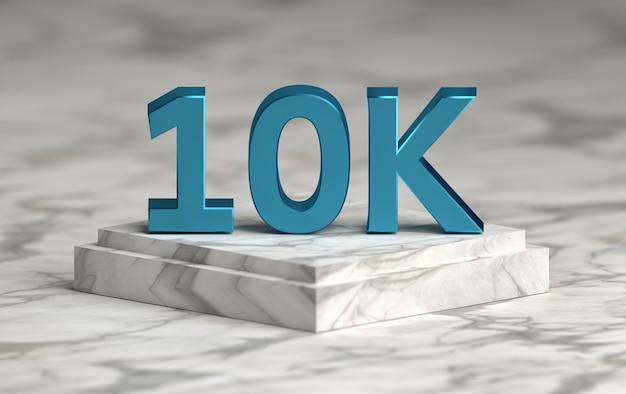 El número de redes sociales 10k le gusta seguidores en el podio